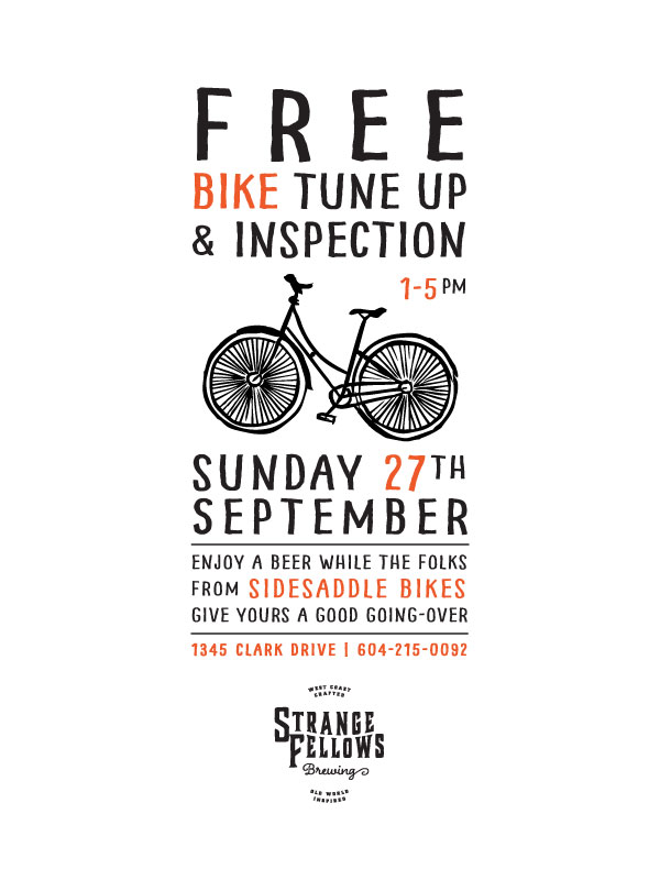 FREE Bike Tune-up this Sunday from 1-5pm at Strange Fellows