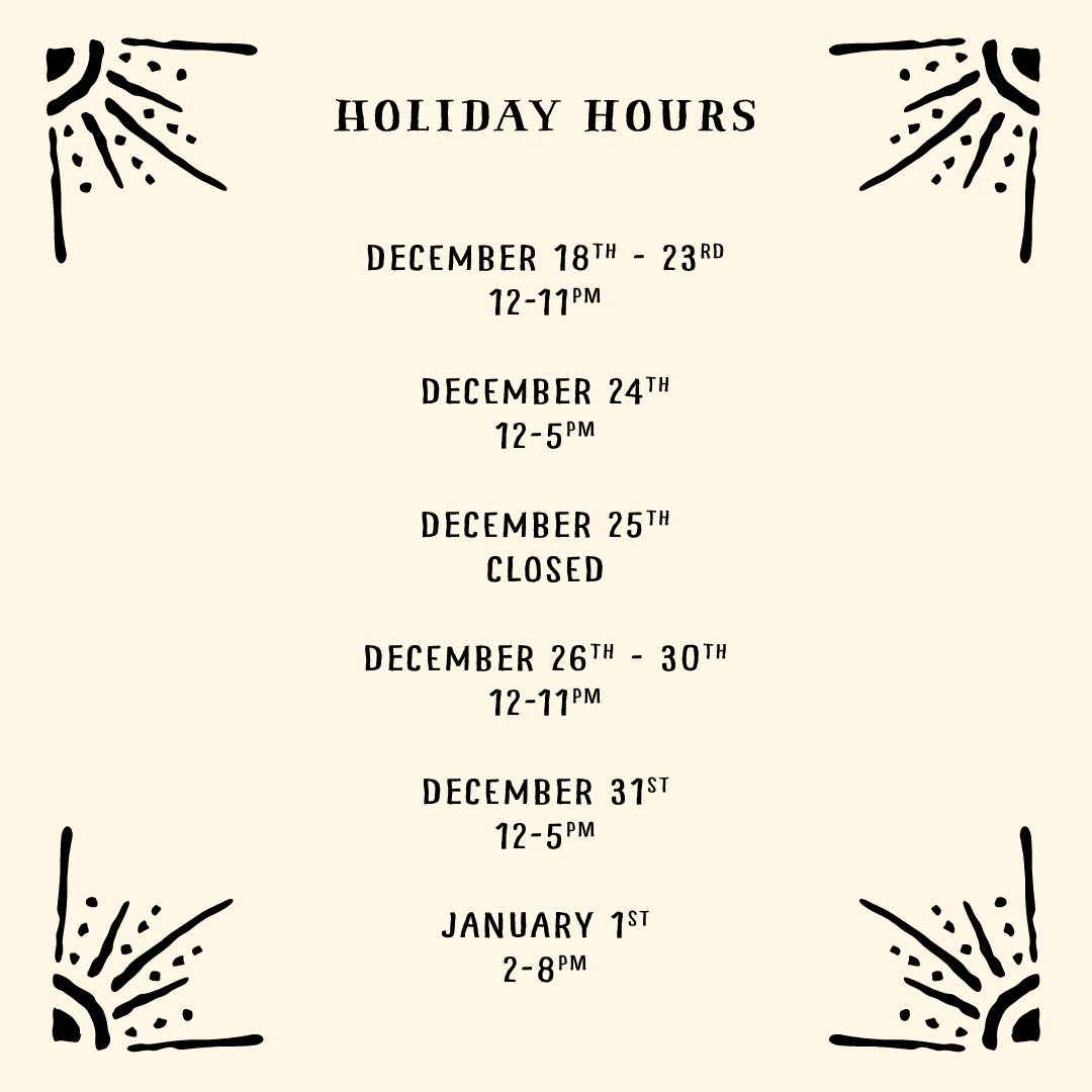 Tasting Room Holiday Hours